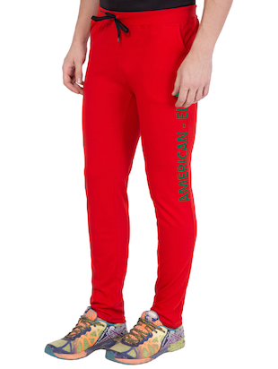 red cotton track pant - 14424837 - Standard Image - 3