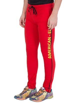 red cotton track pant - 14424842 - Standard Image - 3