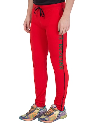 red cotton track pant - 14424845 - Standard Image - 3