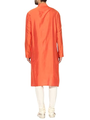 orange silk blend long kurta - 14424885 - Standard Image - 3