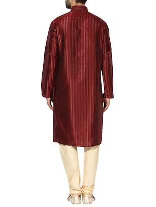 red dupion long kurta - 14424887 - Standard Image - 3