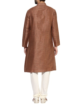 brown silk blend long kurta - 14424902 - Standard Image - 3