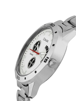 Crude combo of 2 Stainless Steel men's watch-rg741 with white & Black Dial - 14427054 - Standard Image - 3