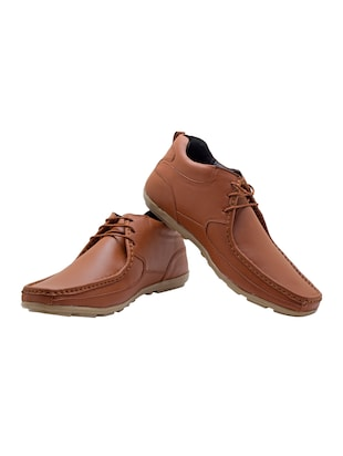brown synthetic lace up shoes - 14427907 - Standard Image - 3