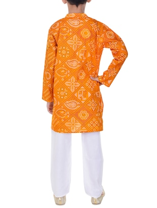 yellow and white cotton kurta set - 14428931 - Standard Image - 3
