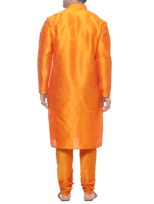 orange silk blend kurta payjama set - 14431421 - Standard Image - 3