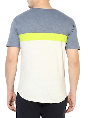 white cotton color block t-shirt - 14433271 - Standard Image - 3