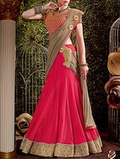 pink net embroidered lehenga saree -  online shopping for Sarees