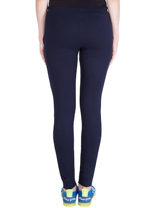 navy blue cotton track pants - 14436759 - Standard Image - 3