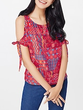Multi colored printed cold shoulder top -  online shopping for Tops