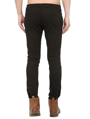 black cotton chinos casual trousers - 14457192 - Standard Image - 3