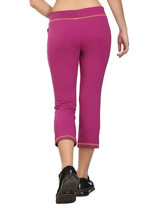 Purple cotton blend sports capri - 14457912 - Standard Image - 3