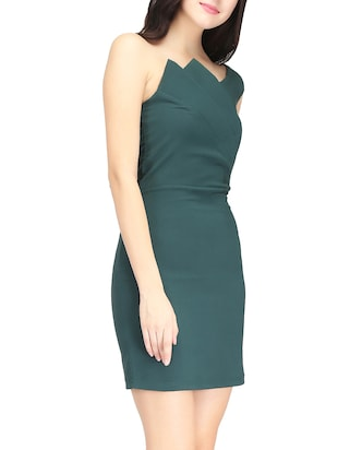 Green single shoulder sheath dress - 14459870 - Standard Image - 3