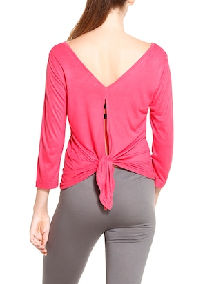 solid pink asymmetrical top - 14461295 - Standard Image - 3