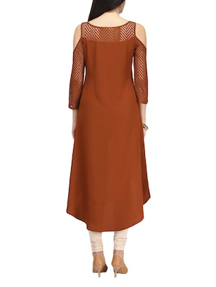 brown crepe highlow kurta - 14461846 - Standard Image - 3