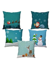 Polysilk Digitally Printed Set of 5 Cushion Covers -  online shopping for Cushion Covers