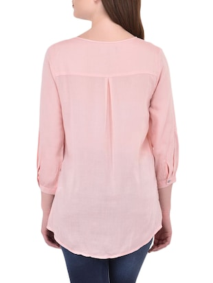 pink cotton casual tunic - 14464343 - Standard Image - 3