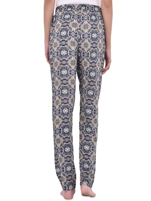 blue printed cotton pajama - 14464496 - Standard Image - 3