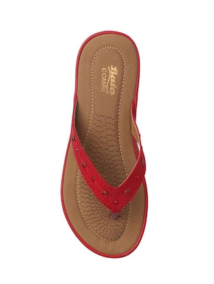 red leatherette slippers - 14464603 - Standard Image - 3