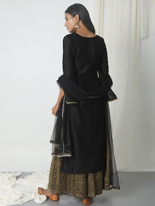 truebrowns black chanderi skirt suit - 14465735 - Standard Image - 3