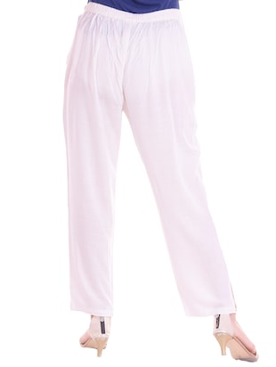 white cotton flat front trouser - 14467227 - Standard Image - 3