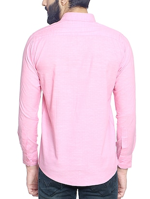 pink cotton blend casual shirt - 14467786 - Standard Image - 3