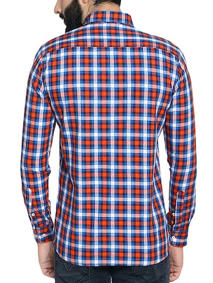 red cotton blend casual shirt - 14467814 - Standard Image - 3