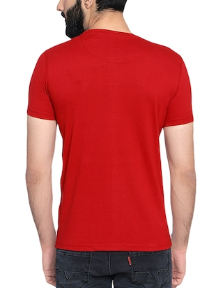 red cotton chest print t-shirt - 14467899 - Standard Image - 3