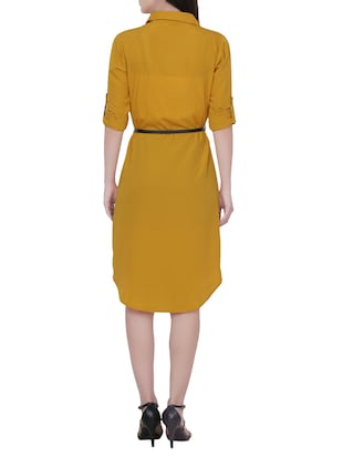 Yellow crepe shirt dress - 14468099 - Standard Image - 3