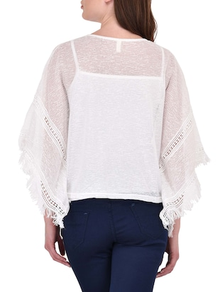 White bell sleeved top - 14468212 - Standard Image - 3