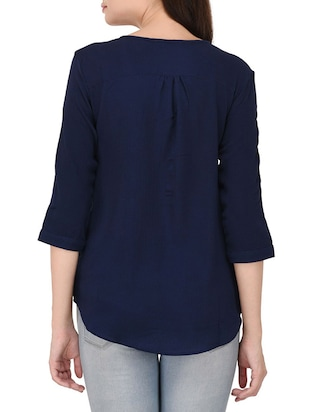 navy blue solid top - 14468245 - Standard Image - 3