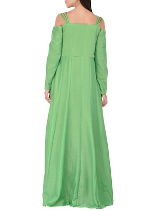 green cotton anarkali kurta - 14469098 - Standard Image - 3