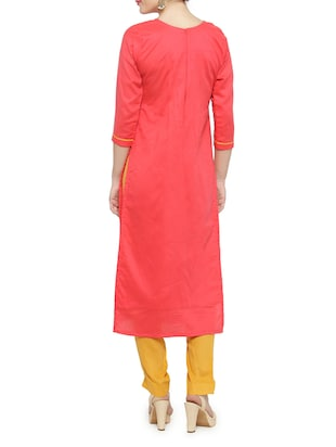 pink cotton straight pant suits unstitched suit - 14469979 - Standard Image - 3