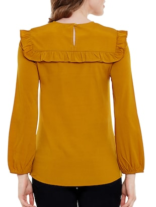 Mustard Yellow crepe regular top - 14471374 - Standard Image - 3
