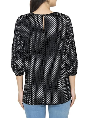 black polka dot printed top - 14472282 - Standard Image - 3