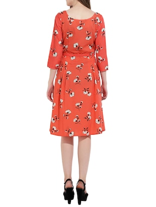 Orange printed a-line dress - 14473031 - Standard Image - 3