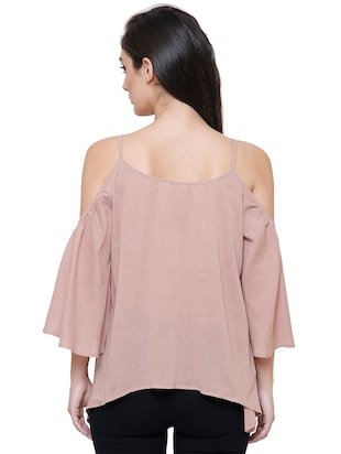 beige rayon casual top - 14477741 - Standard Image - 3