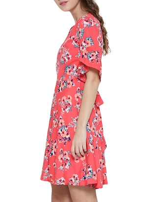 Pink printed A-line dress - 14478373 - Standard Image - 3