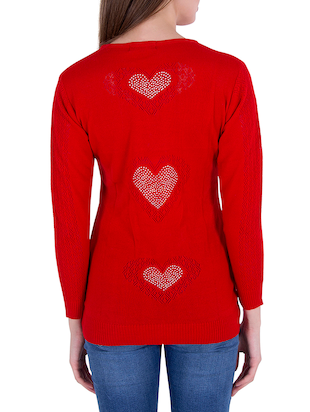 Red solid pullover - 14478692 - Standard Image - 3