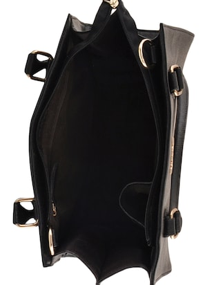 black leatherette  regular handbag - 14479887 - Standard Image - 3