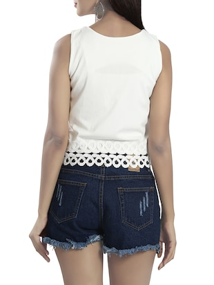 white poly viscose crop top - 14481291 - Standard Image - 3