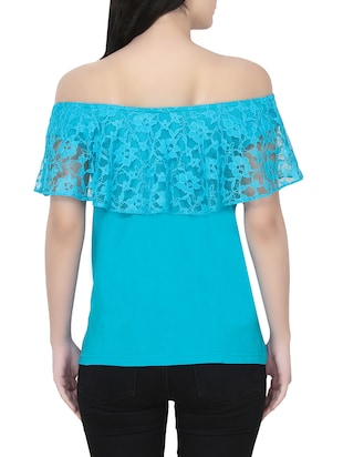 blue off shoulder top - 14481828 - Standard Image - 3