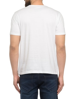 white cotton chest print tshirt - 14481969 - Standard Image - 3