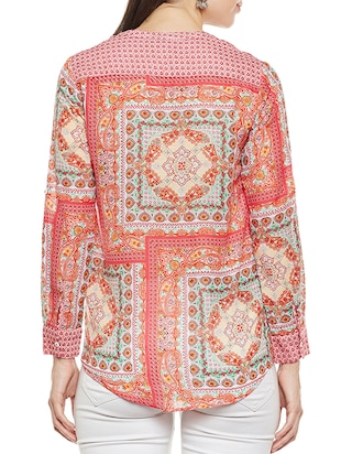 Orange printed top - 14481999 - Standard Image - 3