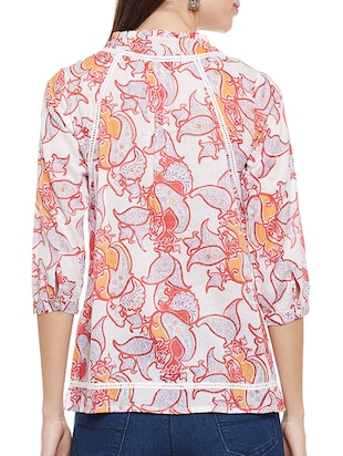 pink printed cotton top - 14482015 - Standard Image - 3