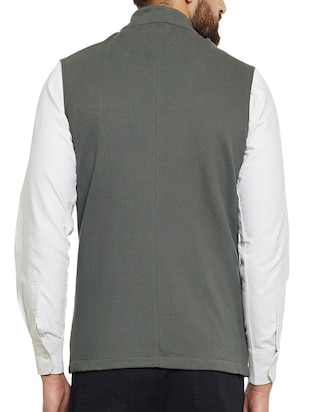 grey cotton nehru jacket - 14485609 - Standard Image - 3