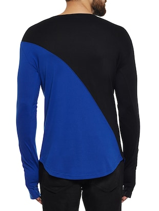 blue and black cotton blend thumb hole  t-shirt - 14485620 - Standard Image - 3