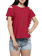 red crepe ruffle top -  online shopping for Tops