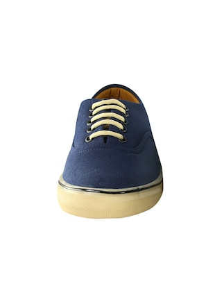navy Canvas lace up sneaker - 14494478 - Standard Image - 3