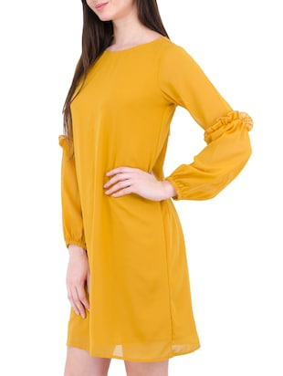 yellow georgette shift dress - 14497413 - Standard Image - 3